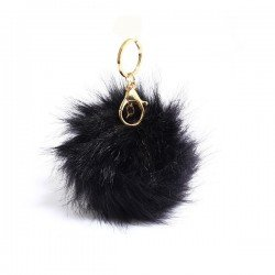 LS Bags Black Fluffy POM POM AGC1016